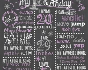 Winter Wonderland Birthday Chalkboard / Snowflake Birthday Chalkboard / Wonderland Birthday Chalkboard/ ONEderland Birthday Chalkboard