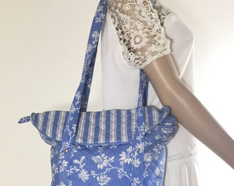 Blue Cotton Purse, Quilted Purse, Bag, Shoulder Bag