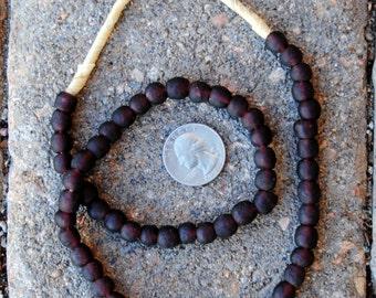 Ghana Glass Beads: Plum 7mm