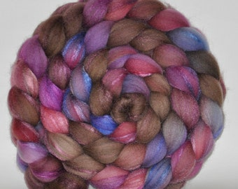 Merino /Tussah Silk   70/30  Hand Painted Roving  5.21 ounces -   Lazy Afternoon  Combed Top
