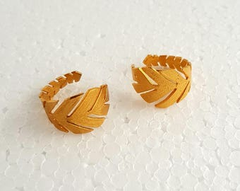 Ring golden leaf - golden brass ring - gold ring - adjustable ring - ethnic jewelry - gift for her - gift for women - gift