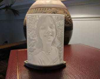 Custom 3D Printed 3x5 Curved Lithophane in an Open Minimalist Frame