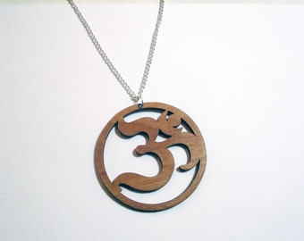 "OHM SYMBOL PENDANT Lg Laser Cut Natural Wood 2.25"" Om Necklace on 24"" Silver Plated Chain"
