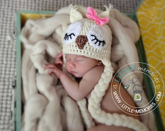 Cute Sleepy Owl Crochet Newborn Baby Handmade Hat