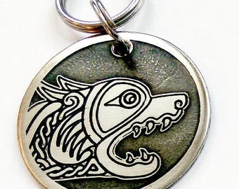 Dog Tag - Celtic Wolf in Nickel Silver