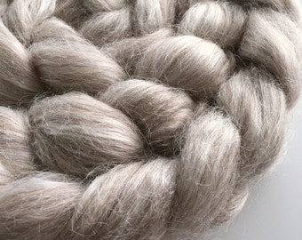 "Baby Alpaca and Tussah Silk Combed Tops ""Chai Latte"" spinning felting natural undyed fibre 100g"