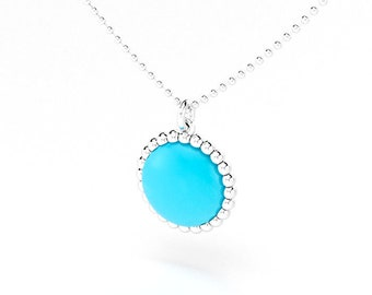 Turquoise cabochon and silver Cocktail necklace