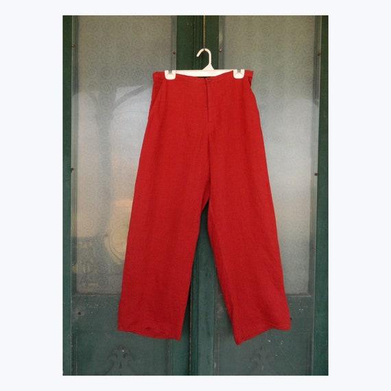 FLAX Engelhart Long Trousers -S- Paprika Red Hank Linen