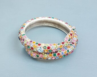 Vintage Colorful Rhinestone Snake Bracelet, Art Deco Celluloid Bangle Bracelet, Rainbow Crystal, Rare & Collectible