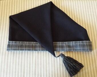"""Black Wool Cap, Handstitched. 19th Century, Civil War, Victorian, Size 22.5""""-23.5"""""""