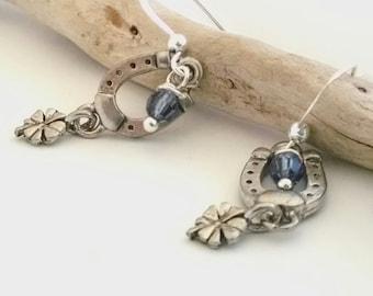 Horseshoe Earrings , Cowgirl Earrings , Horse Jewelry , Western Earrings , Silver Horse Earrings,   Equestrian Jewelry , Horse Lover Gift