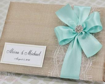 Champagne Wedding Guest Book Aqua Blue Ribbon Custom Made