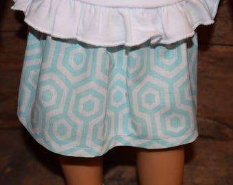 "18"" Doll Skirt Teal Quatrefoil/Geometric Design - fits 18"" American Girl Doll, AG Doll Clothes, 18"" doll skirt"