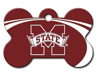 Mississippi State Bulldogs Dog ID Tags and Pet id tags - These are custom NCAA bone shaped and personalized engraved