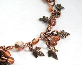 Autumn Leaves Bracelet, Antique Copper Maple Leaf Charm Bracelet, Fall Fashion Jewelry, Autumn Accessories