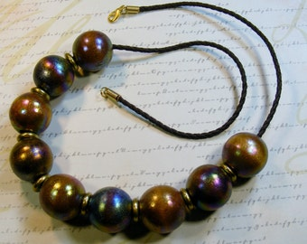 Wood Beaded Necklace-brown, irridescent, leather cord, 26 inches or 66.5 cm