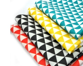 "Laminated Cotton Fabric by the yard Triangle pattern_ bluish green, Yellow, Black,  Red  _43.3"" wide  DM 3715"