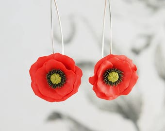 Red poppy jewelry etsy small red poppy flower dangle earrings red flower earrings polymer clay floral jewelry mightylinksfo Choice Image