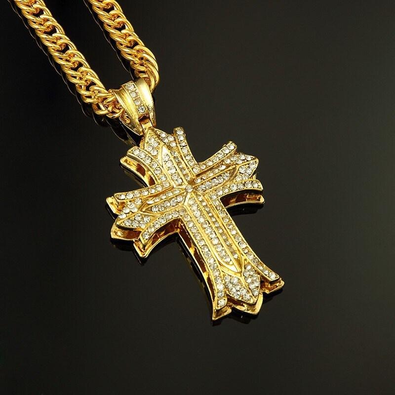 Rock dance cross pendant long necklace 24k thick gold chains description rock dance cross pendant long necklace 24k thick gold chains aloadofball Choice Image