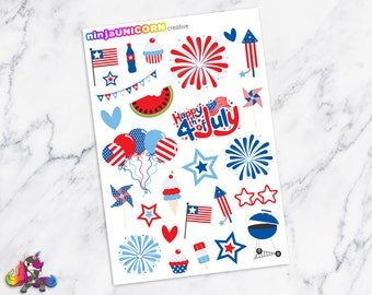 4th of July Planner Stickers, Holiday Planner Stickers, Fireworks Stickers, Patriotic Stickers