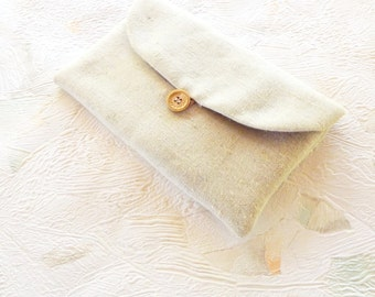Linen Purse, Linen Clutch, Cosmetic Bag, Small Bag, Fabric Purse, Gray Purse, Fabric Clutch, Wedding Accessories