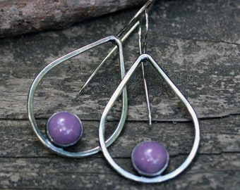 Purple phosphosiderite earrings / sterling silver earrings / tear drop earrings / gift for her / jewelry sale / large dangle earrings