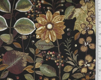 Shades of Autumn - Per Yd - PB Textiles - Norman Wyatt - Beyond Beautiful** Fronds and Berries on Black