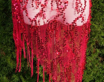 Magenta Sequin and Tulle Wrap Skirt