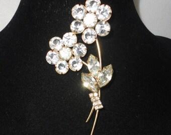 Vintage Austrian Crystal Flowers Brooch*****.
