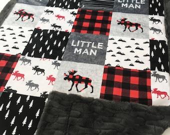 Woodland Minky Blanket Patchwork Minky Blanket Baby Boy Little Man Minky Blanket Baby Shower Gift Moose Minky Blanket Toddler Buffalo Plaid