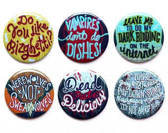 "What We Do In The Shadows Buttons |  Werewolves Not Swearwolves Buttons | Vampires and Werewolves Set of Six Buttons | 2"" Pinback Buttons"