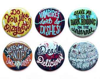 "What We Do In The Shadows Buttons |  Werewolves Not Swearwolves | Set of Six Buttons | 2"" Pinback Buttons"