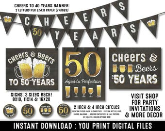 50th birthday party decorations - 50th birthday party for men - Cheers to 50 years - Cheers & Beers - Instant download party decor for him