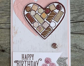 Box of chocolates card, heart shaped, birthday card with pink embossing