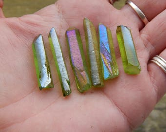 SET of SIX Green AURA Quartz Points - Titanium Coated Quartz Crystal Points - Wire Wrapping Stones - Jewelry Making - Crystals - Gemstones