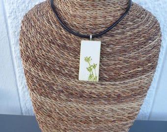 Yellow ceramic, real plants pendant necklace