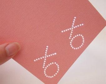 XO XO - One Premium Hand-hammered Greeting Art Card - Textured Card Stock DDOTS