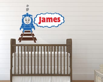 Thomas the Tank Engine Wall Decal - Boy Name Wall Decal - Train Wall Decal