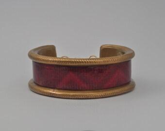 Polymer Clay Cuff Bracelet - Red and Gold Chevron Patterned Bracelet - Gift for Her - Bracelet for Women - Handmade Cuff Bracelet