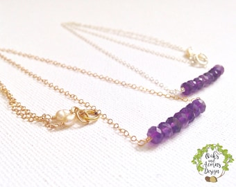 Gold amethyst necklace - amethyst necklace - 14k gold filled - dainty necklace - February birthstone necklace - beaded bar necklace