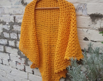 GOLDFINCH Crochet Triangle Shawl - Pure Cotton - Ready to Ship