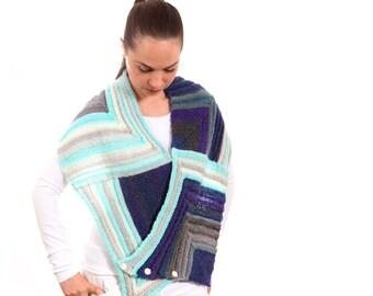 Hand Knit Geometric Long Scarf in Blue Shades, Blue Scarf by Solandia Blue Shawl nautical/ zen/ original design