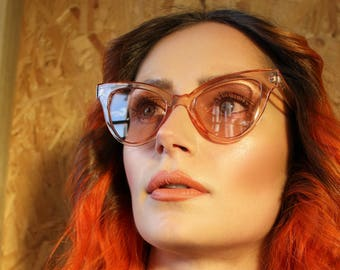 50's 90's Retro nude peach tinted cat eye clear frames & lenses sunglasses