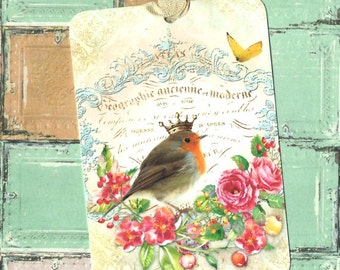 Tags, Bird Gift Tags, Crowned Bird, Flowers, French Style, Bird Lover