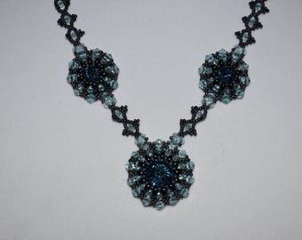 Blue Sunbursts Beaded Necklace by Lyuda