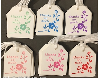 Handmade Thank You Tags Value Priced Pink Red Purple Blue Green Flowers Hand Stamped Customer Thank You All Occasion set of 36