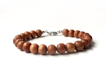 Bracelet - 8mm Bayong Wood Bead Bracelet - Wooden Ball Bracelet - Sterling Silver or 14k Gold Fill - Oil Diffuser Jewelry