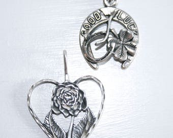 Vintage Sterling Good Luck Horseshoe Shamrock and Rose Charms 925