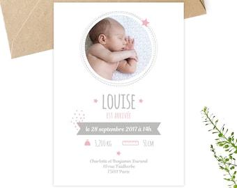 Faire-part naissance, à personnaliser, à télécharger, à imprimer, petipeu, annonce naissance, naissance bébé, carte bébé, rose