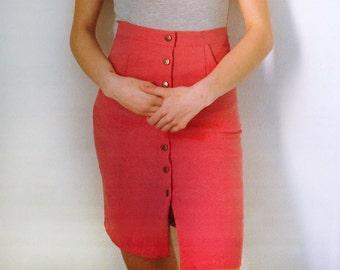 PINK SKIRT - Denim Button Midi Skirt